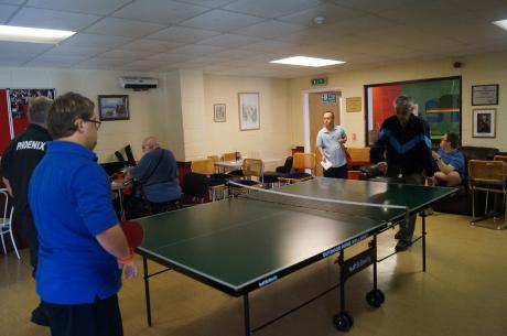 Table tennis in the clubhouse