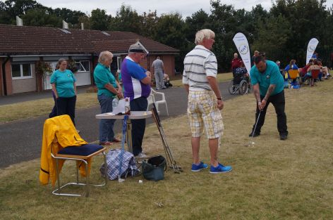 Golfers waiting to tee off
