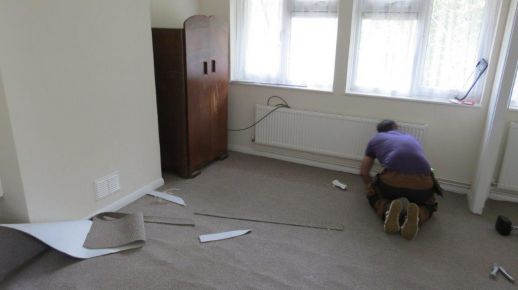 Fitting the carpet in the living room